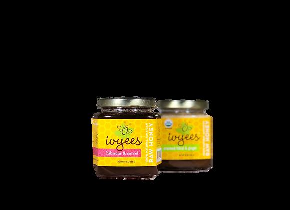 """""""Creamed Floral & Ginger"""" + """"Hibiscus & Sorrel"""" Raw Honey Bundle"""