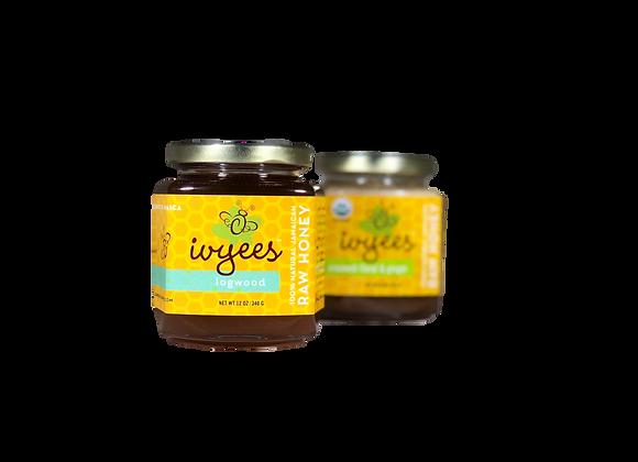 """""""Logwood"""" + """"Creamed Floral & Ginger"""" Raw Honey Bundle"""