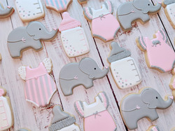 Pink and Grey Elephant Baby Shower Cooki