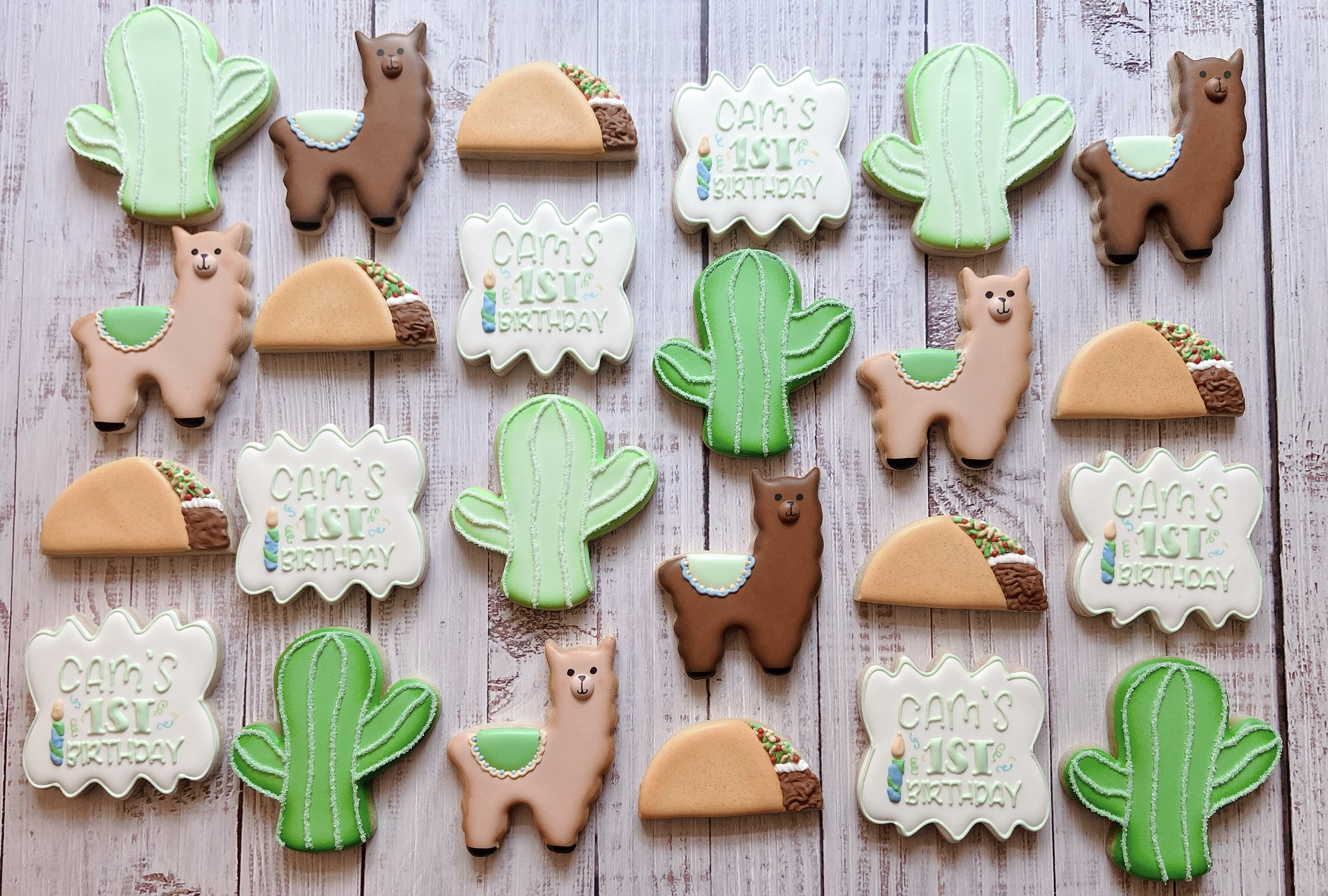 Llama Fiesta First Birthday Cookies