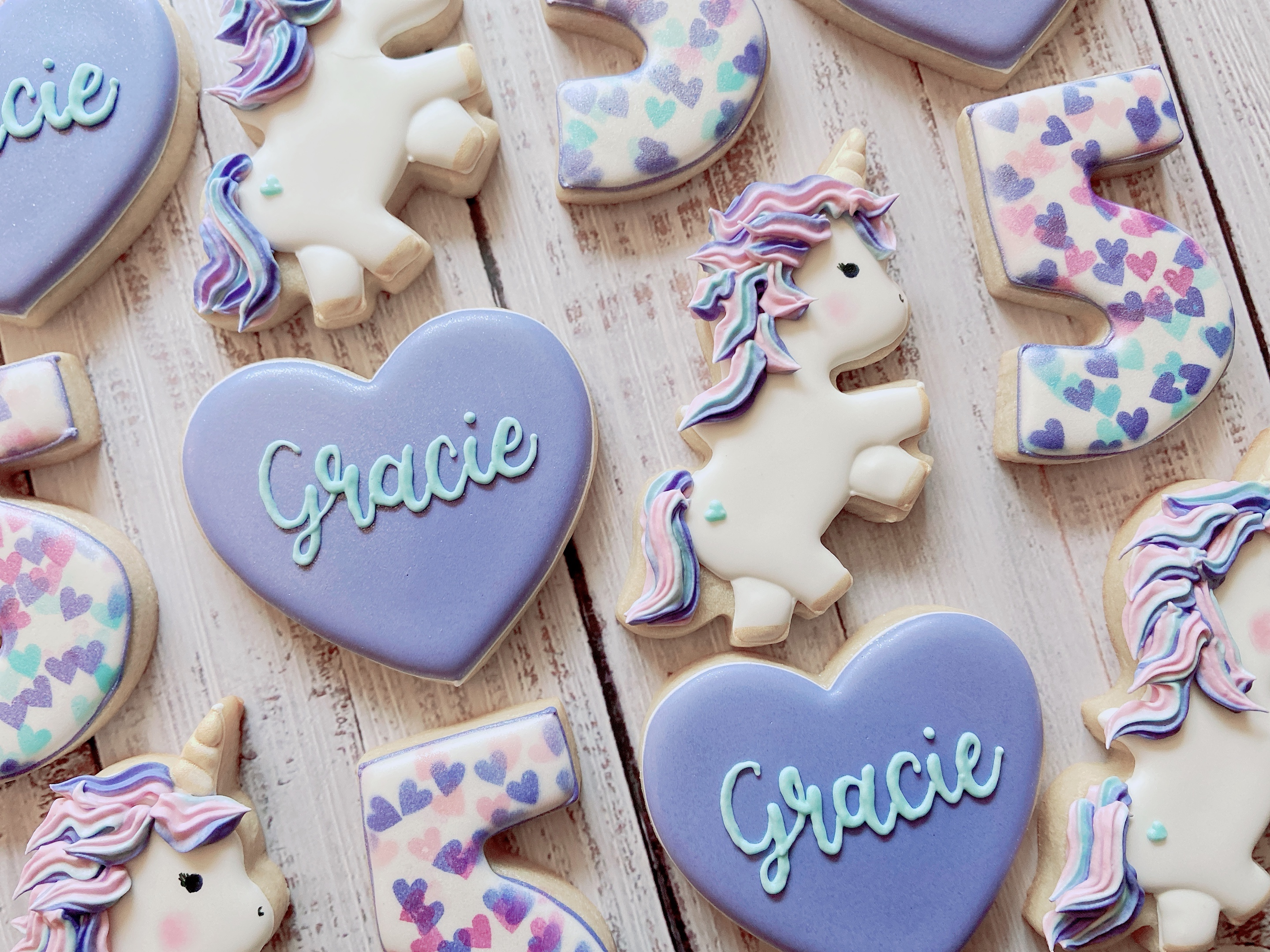 Purple Unicorn Birthday Cookies
