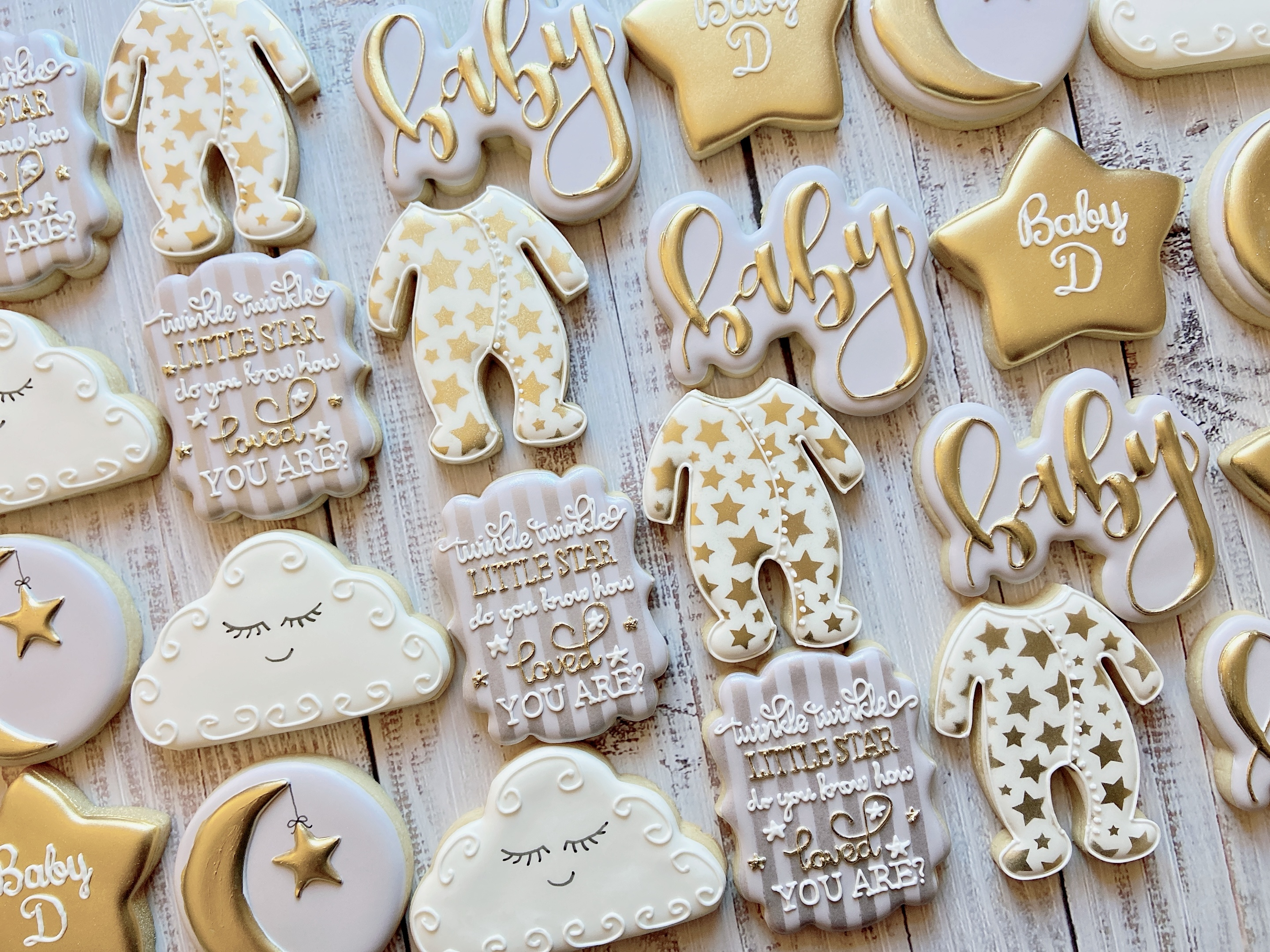 Silver and Gold Baby Shower Cookies