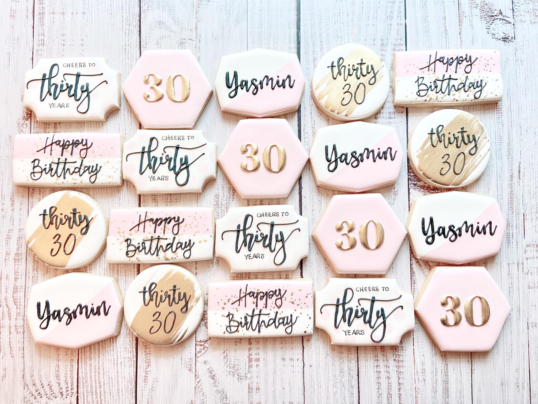 Elegant 30th Birthday Cookies