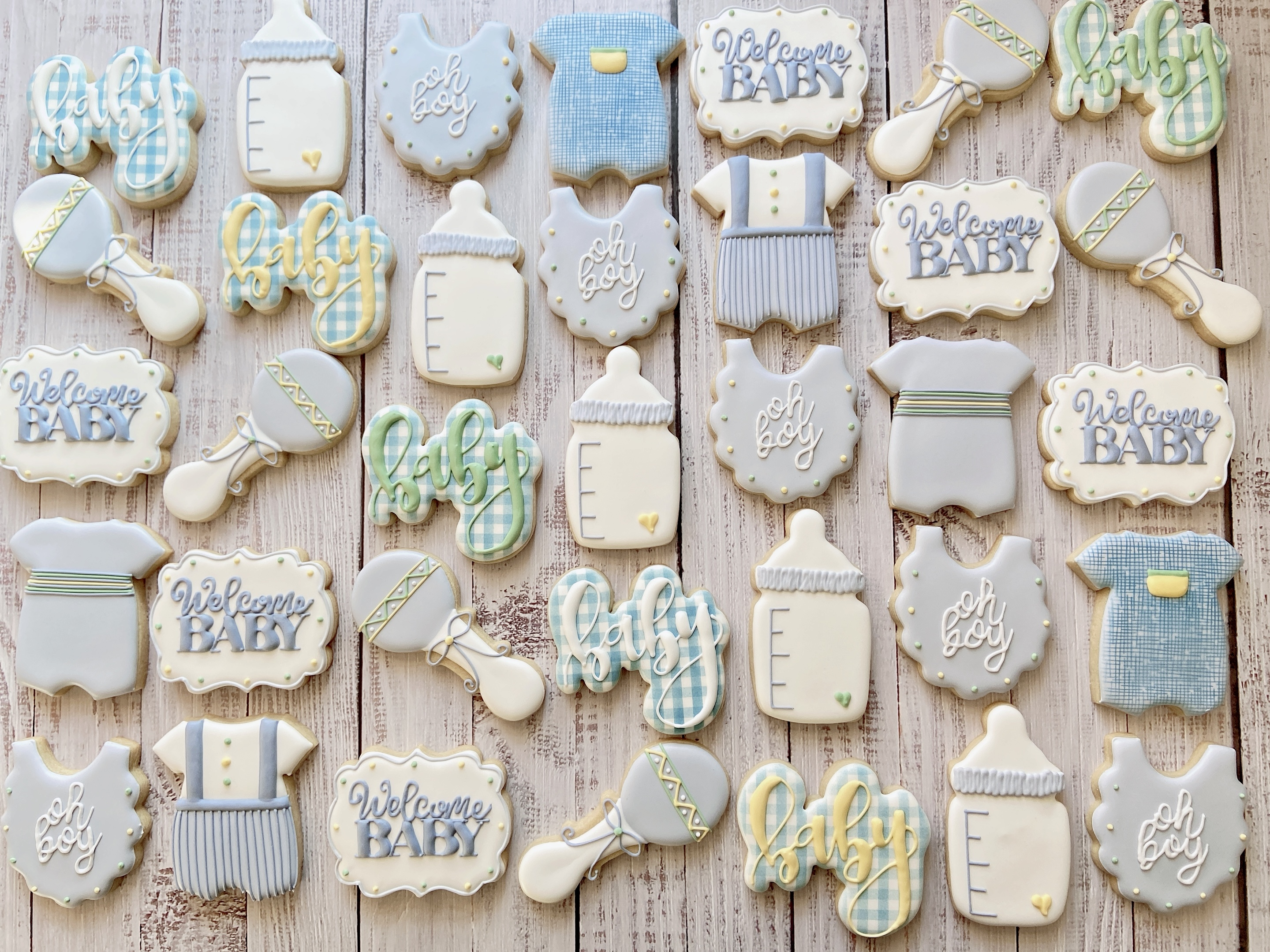 Blue Baby Boy Shower Cookies