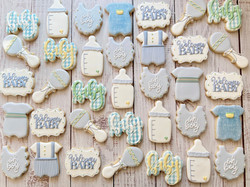 Blue Baby Boy Shower Cookies