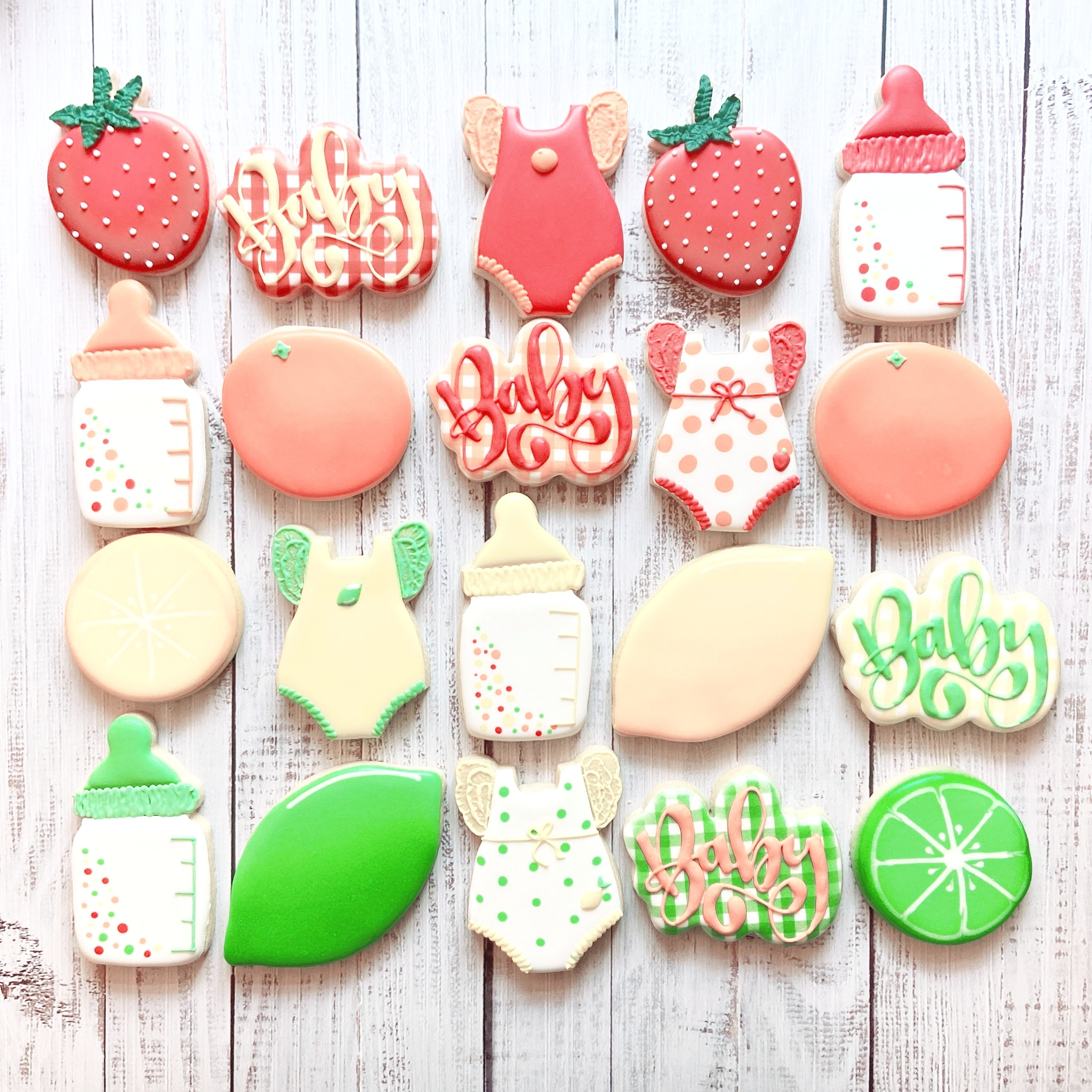 Summer Fruit Baby Shower Cookies