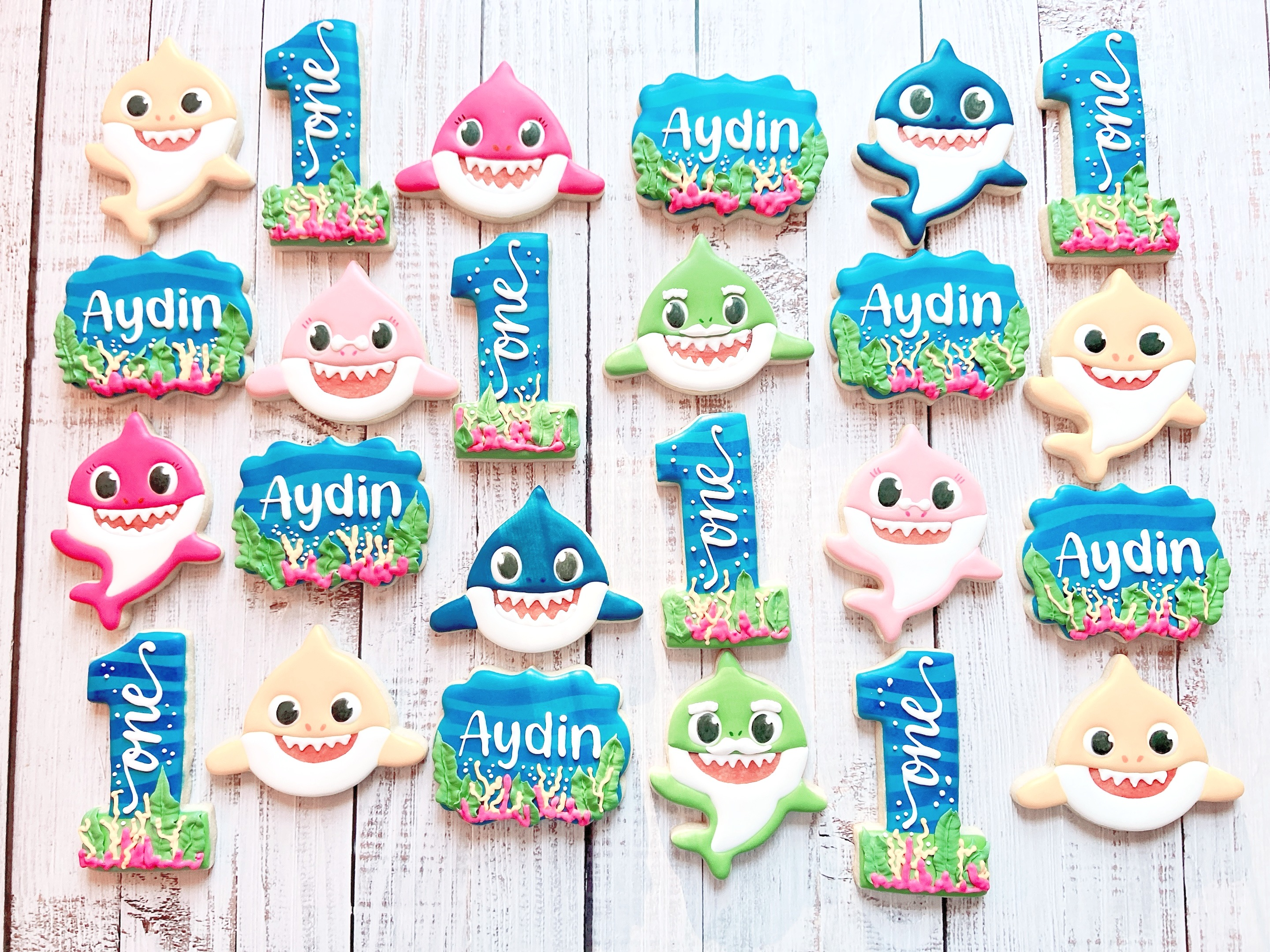 Baby Shark First Birthday Cookies