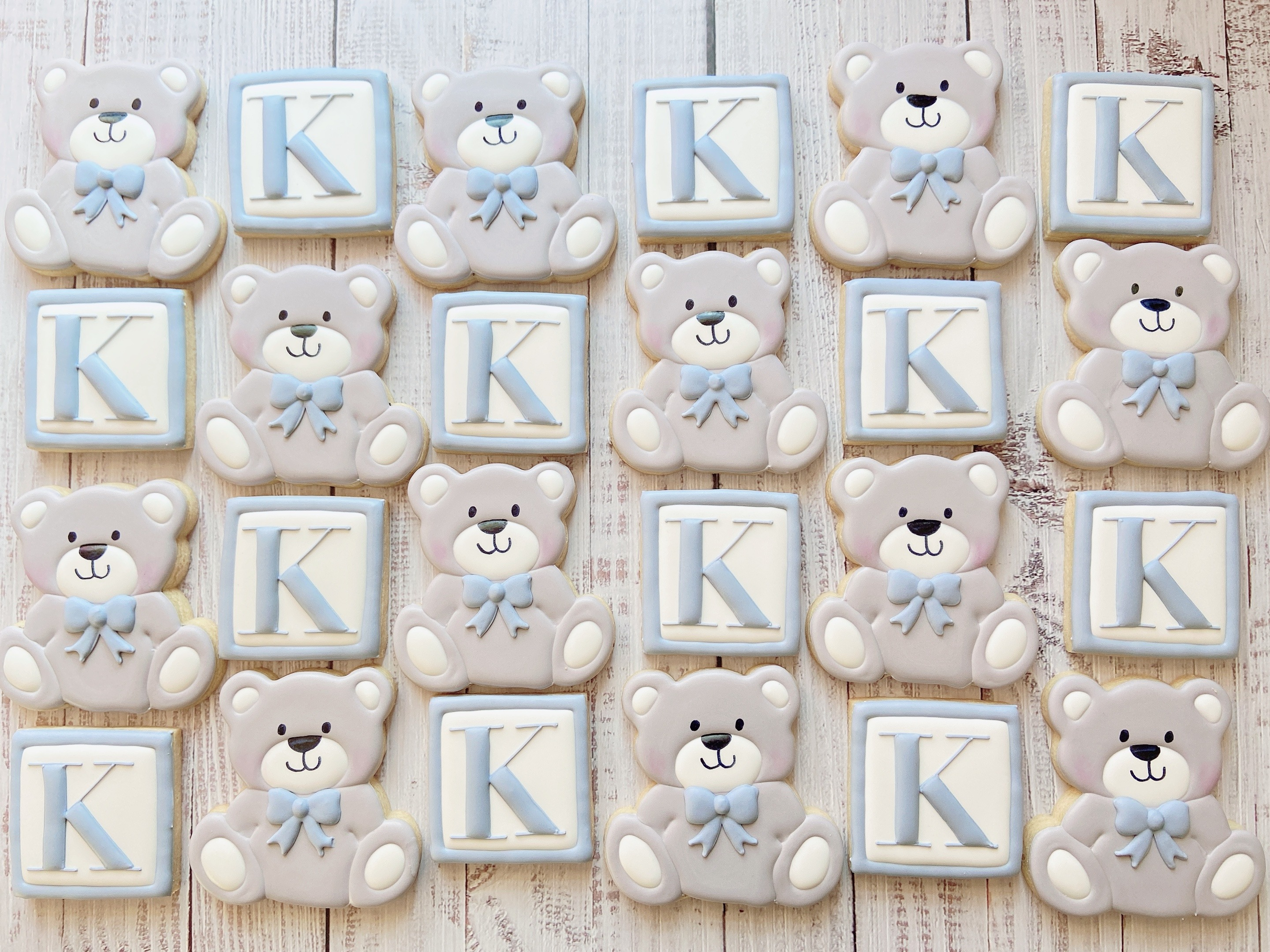 Blocks and Bears Baby Shower Cookies