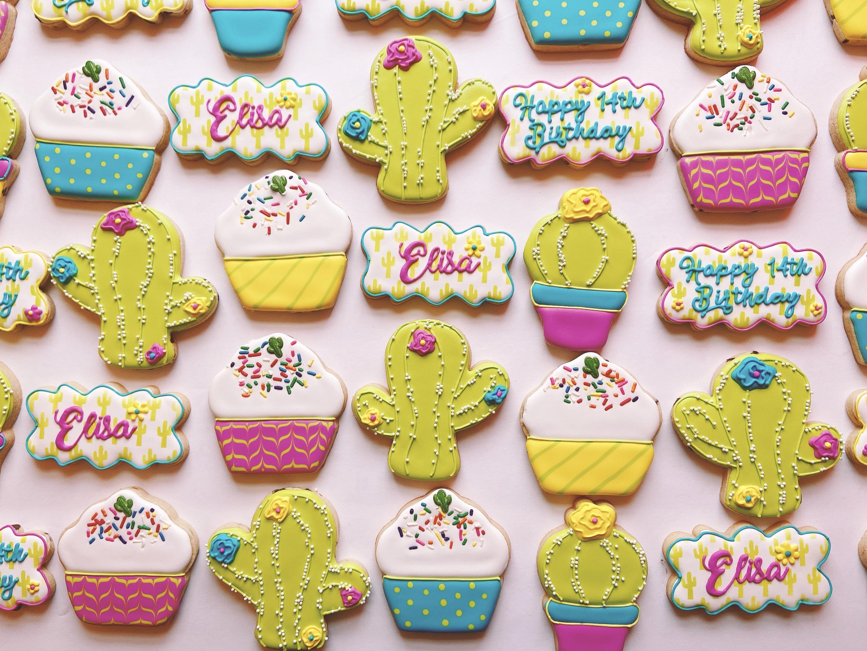 Cactus Cupcake Birthday Cookies