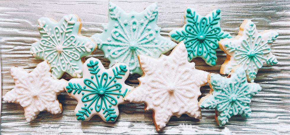 Snowflake Cookies on a Platter