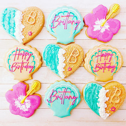 Beach Hibiscus Seashell Cookies