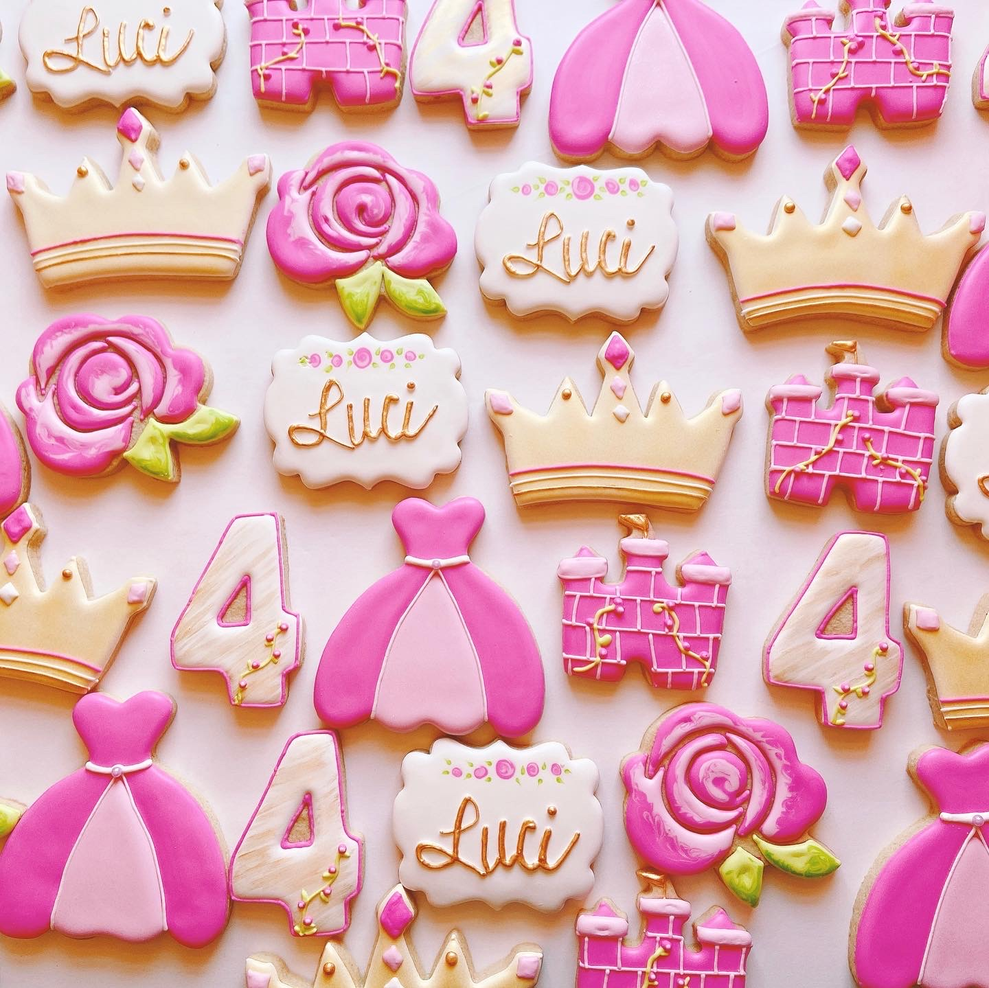 Princess Dress Crown Rose Cookies