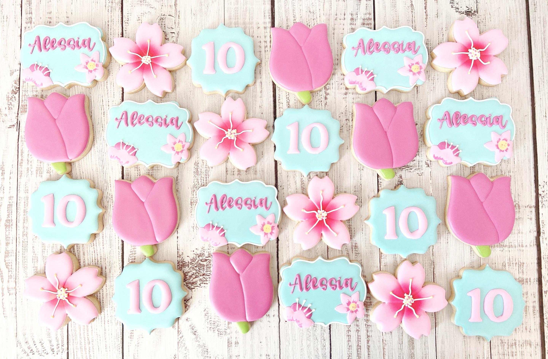 Spring Flowers Birthday Cookies