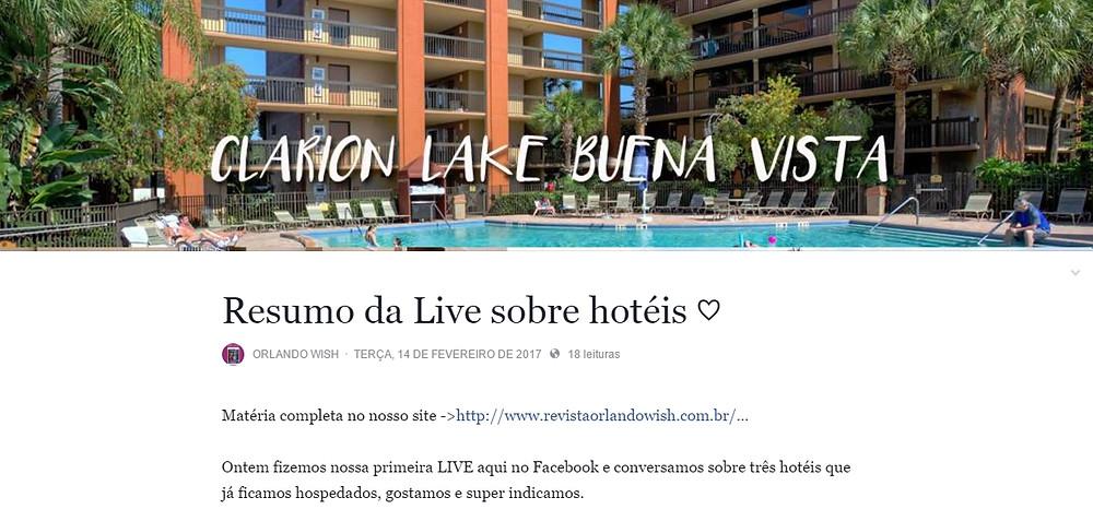 LIVE Facebook Orlando Wish Hotéis