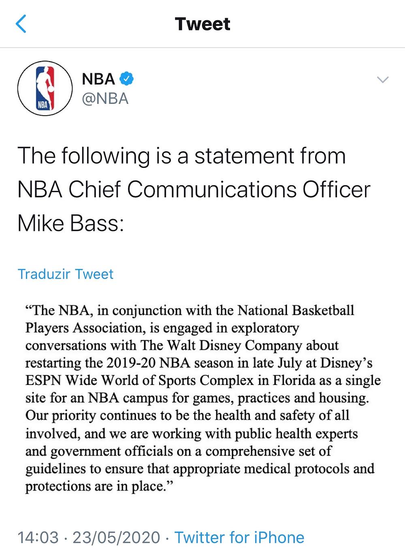 Jogos da NBA retornam em julho