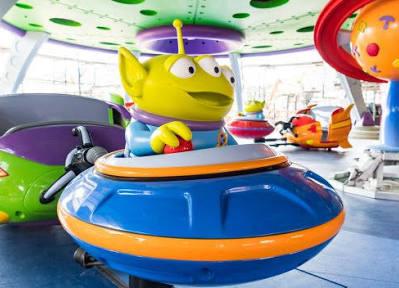 Como é a atraçãoAlien Swirling Saucers em Toy Story Land?