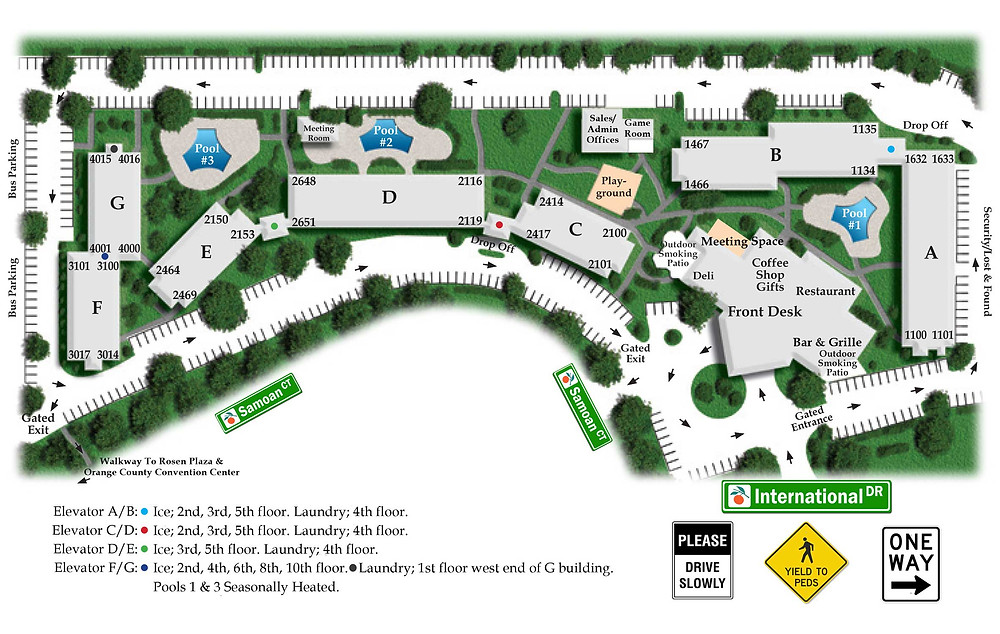 Rosen Inn 9000 map - Orlando Wish