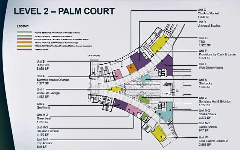 mapa do novo terminal (Terminal C) no aeroporto internacional de Orlando