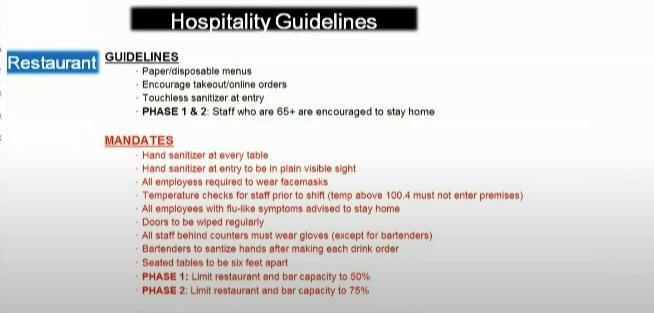 Novas regras e diretrizes para os restaurantes em Orlando
