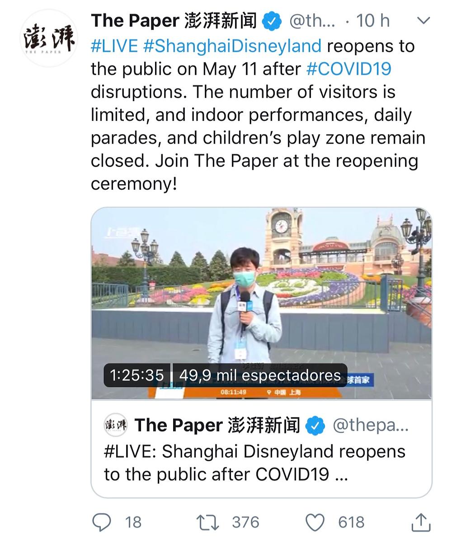 Transmissão ao vivo reabertura Disneyland Shanghai