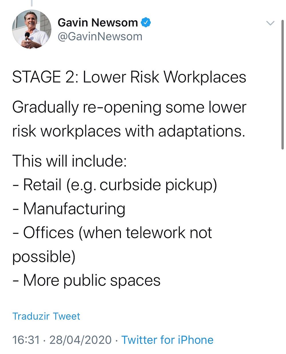 Etapa 2 / Twitter Gavin Newsom da Califórnia