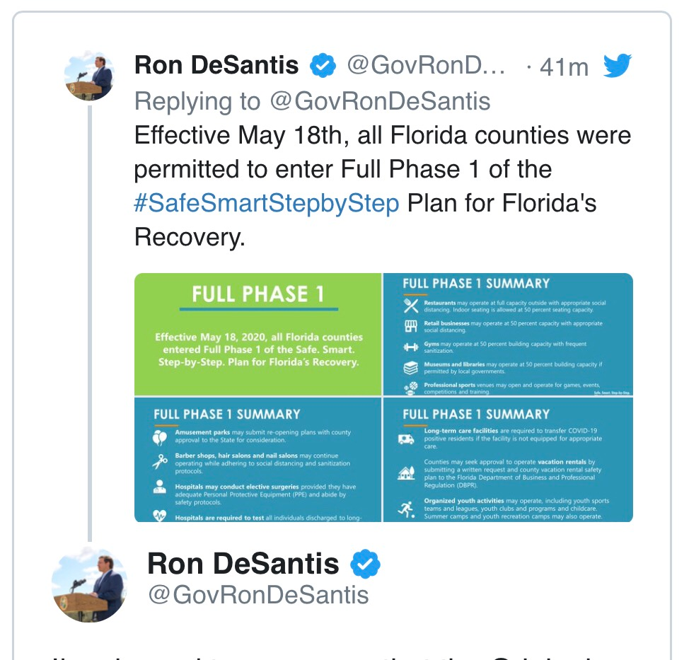 Reabertura da economia da Flórida: fase 2