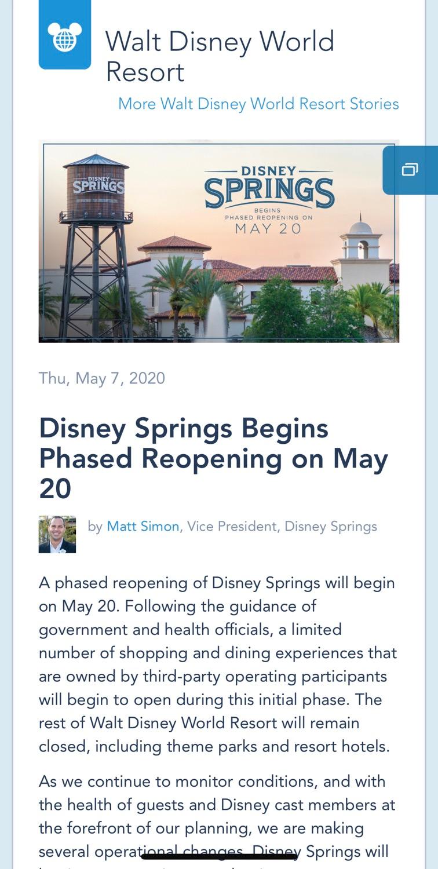 Disney divulga reabertura de Disney Springs