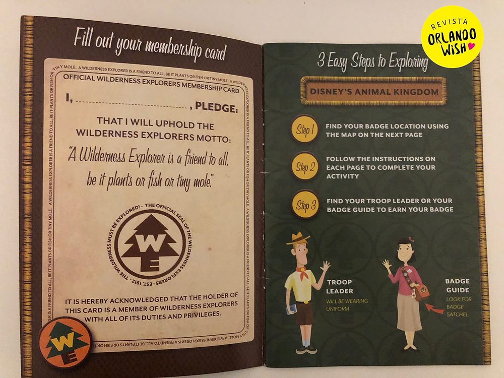 Livro Wilderness Explorer parque Animal Kingdom