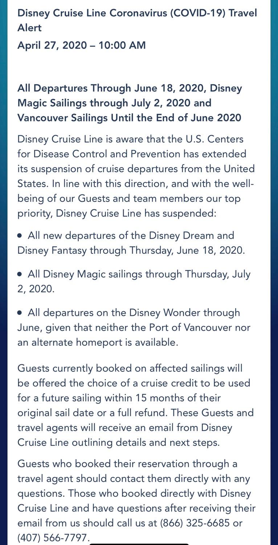 Suspensão do Disney Cruise Line