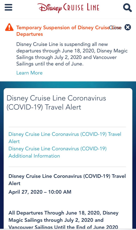Mensagem do Disney Cruise Line