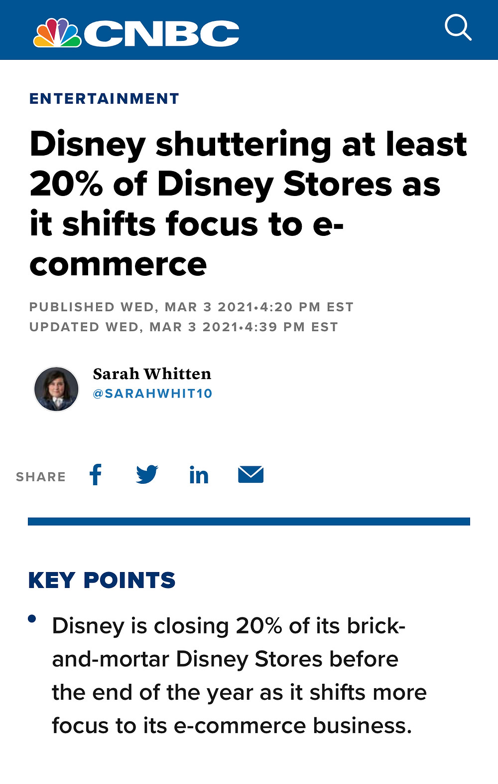 Disney fechará 60 lojas físicas em 2021