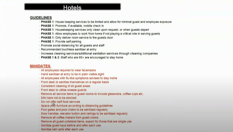 Novas regras e diretrizes para os hotéis em Orlando