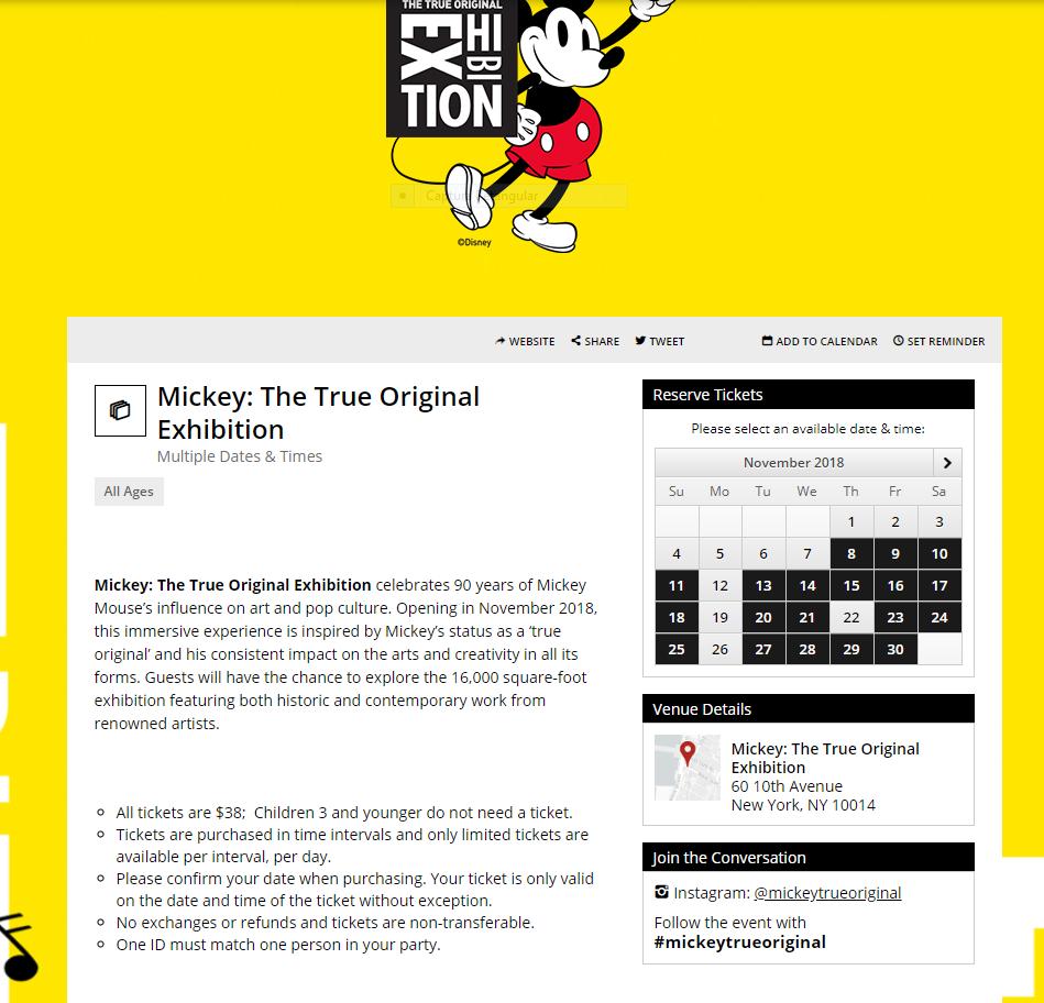 Ingressos para Mickey: The True Original Exhibition