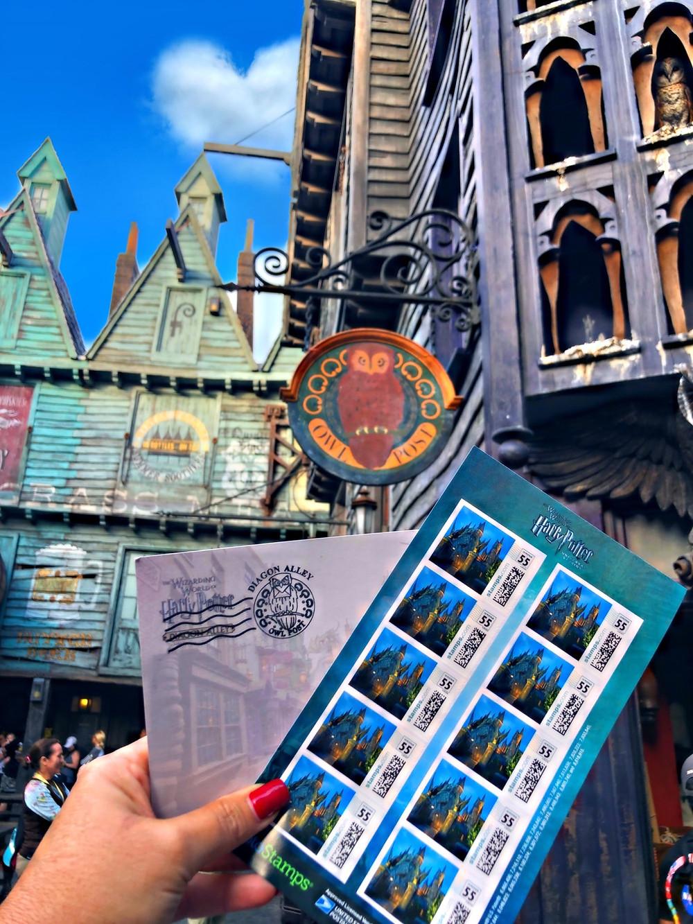 OWL POST (correio coruja) nas duas áreas temáticas de Harry Potter no Universal Orlando Resort