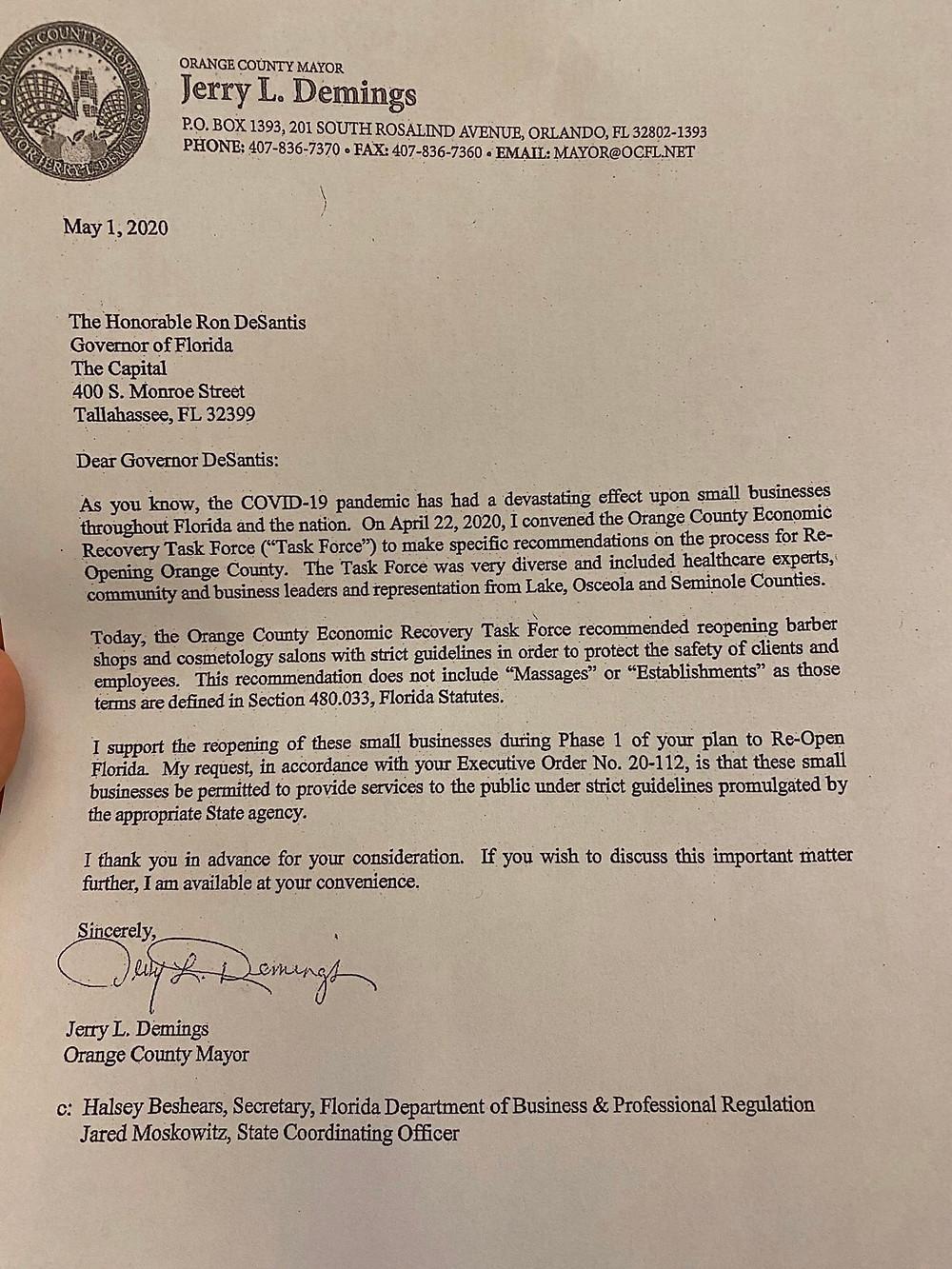 carta enviada ao governador DeSantis