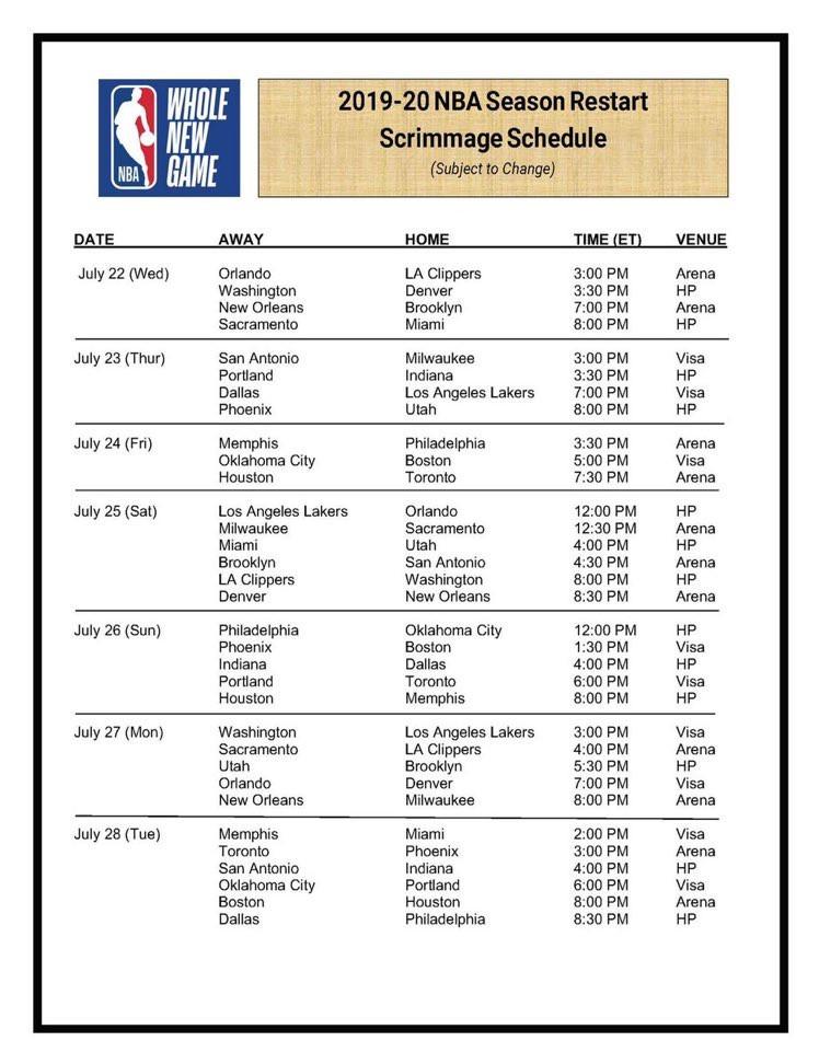 Listagem dos jogos de NBA na Disney