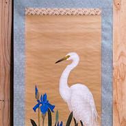 白鷺と燕子花