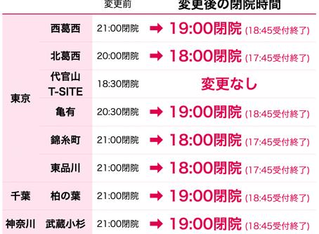 【7/3更新】閉院時間変更のお知らせ