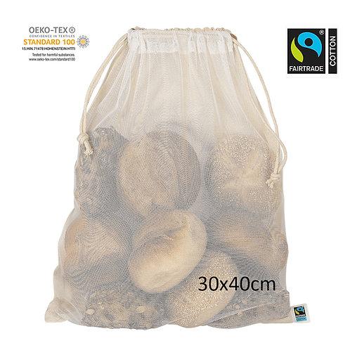 Netzbeutel aus Fairtrade-Baumwolle&PET 30x40cm