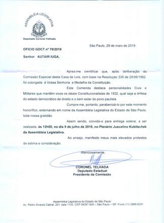 Presidente Iuga receberá a Medalha da Constituição