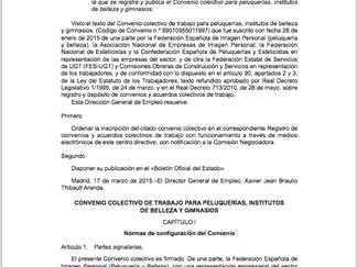 CONVENIO COLECTIVO DE TRABAJO PARA PELUQUERÍAS, INSTITUTOS DE BELLEZA Y GIMNASIOS 2015