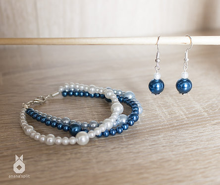 Parure en perles - bracelet et boucles d'oreilles