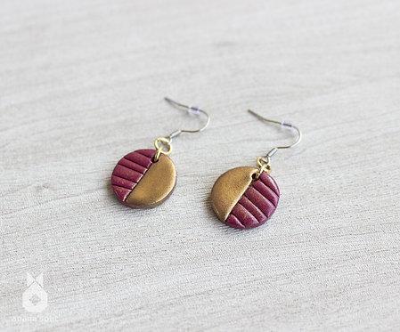 Boucles d'oreilles rondes rouge cerise et or