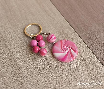 Porte clefs Spirale rose