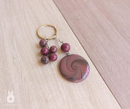 Porte clefs Spirale bordeaux et gris