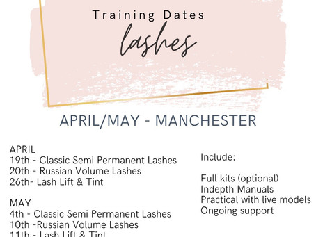 Lash Training Dates for Manchester