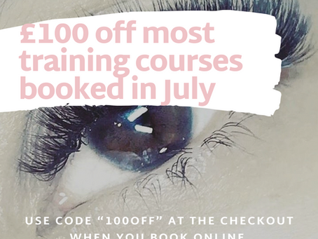 £100 off beauty training courses booked in July