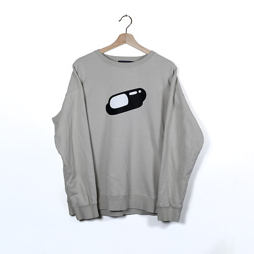 Large men's grey sweatshirt with pill graphic