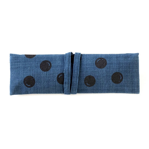 Polka dot screen printed Wrap pouch with Reusable Utensils