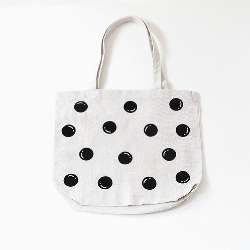 White Polka Dot Recycled Cotton Market Bag